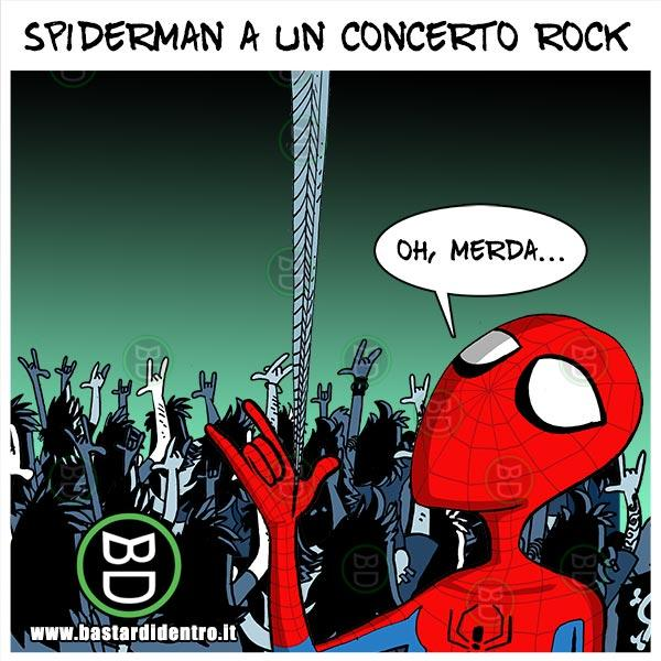 Spiderman a un concerto rock